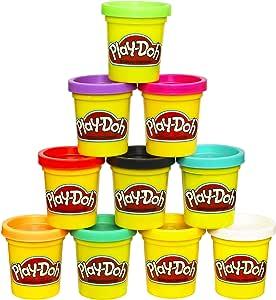 Hasbro Play-Doh 橡皮泥泥塑化合物 10盒装 无毒,多种颜色,2盎司(约56.70克)罐装,适合2岁及以上儿童