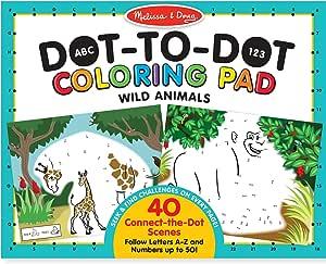 Melissa & Doug ABC 123 野生动物点点连线涂色本