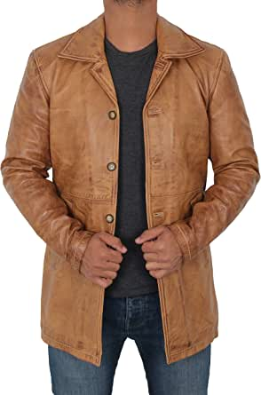 黑色皮革飞行员夹克男式 - 仿旧小羊皮棕色复古男式皮夹克