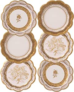 TALKING TABLES PARTY PORCELAIN GOLD 12-Pack 3 Designs Plate, Small