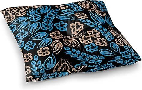 "KESS InHouse Maria Bazarova""蓝色花朵""黑色花卉方形地板枕 多种颜色 23"" x 23"" MB6024ASF01"