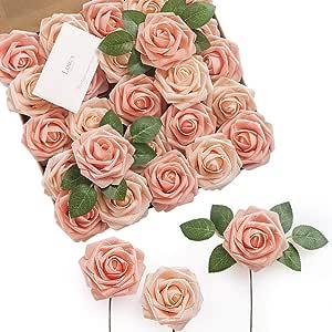 Ling's moment 人造花玫瑰真实造型假玫瑰 w/茎 DIY 婚礼花束 中心装饰派对家居万圣节装饰
