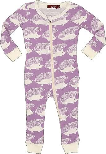 MilkBarn 有机棉拉链睡衣 - 薰衣草刺猬