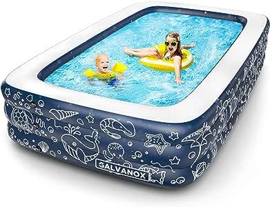 Galvanox 充气泳池,XL 码地面游泳池,适合儿童/儿童/成人/家庭,深蓝色(大号 25.4 x 15.24 厘米/55.88 厘米深)