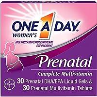 ONE A DAY 孕妇产前复合维生素,可在怀孕前,怀孕中和妊娠后补充包括维生素A,C,D,E,B6,B12,叶酸和Omega-3 DHA(30 + 30粒)