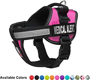"""Dogline Vest Harness for Dogs and 2 Removable Medical Alert Patches, Small/18"""" to 25"""", Pink"""
