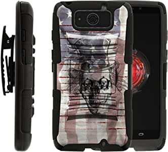 Droid MAXX Case | Rugged Armor Series Impact Hard Rubber Durable Unique Creative Cover + Belt Clip , Droid MAXX and Droid Ultra XT1080 by MINITURTLE - American Skeleton
