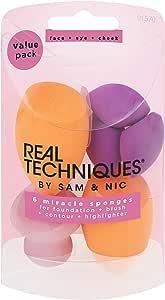 Real Techniques Miracle 面部化妆海绵 6件装用于打底,修颜和塑颜(包装和颜色可能会有所不同)