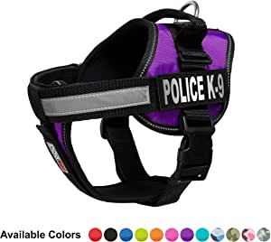 Dogline Unimax Multi-Purpose Vest Harness for Dogs and 2 Removable POLICE DOG K-9 Patches 紫色 中