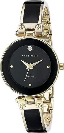ANNE KLEIN 女士 AK/1980BKGB 钻石点缀表盘 手镯表,黑色/金色,均码
