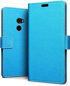 SLEO Xiaomi MIX 2 手机壳,奢华钱包翻盖 PU 皮革保护套带卡槽和支架功能,适用于 Xiaomi MIX 2 for Xiaomi Mi MIX 2 蓝色