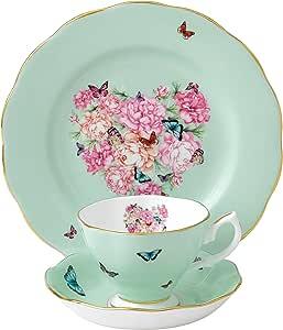 Royal Albert 祝福系列茶具,含茶碟和盘子,3件套,绿色