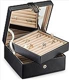 Glenor Co 戒指收纳盒 - 108 槽经典珠宝展示夹 - 2 个储物托盘 现代扣合,大镜子 - 固定环袖扣…