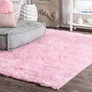 nuLOOM 云人造羊皮柔软毛绒长毛毯,2 英尺 6 英寸 x 8 英寸,象牙色