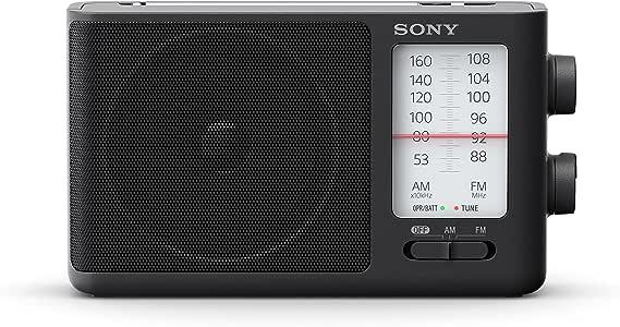 Sony 索尼 ICF-506 耐用型 便携式收音机 (复古设计,饱满声音,交流电源或电池供电,带把手),黑色