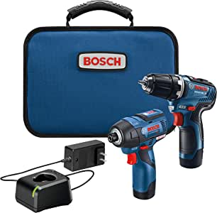 Bosch 博世 GXL12V-220B22 12V Max 2 工具无刷组合套件,具有3/8英寸(约0.95厘米)钻头/螺丝刀,1/4英寸(约0.64厘米) 六角冲击起子和(2个)2.0 Ah电池