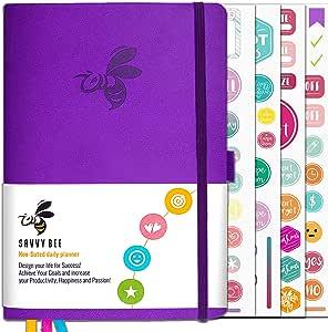 Savvy Bee Journal - *和自我掌握的*佳日常策划师和记事本 | 月历、感激日记和 Habit 追踪器实现目标 | 人造皮革精装未日期的计划者 2019 活力紫色