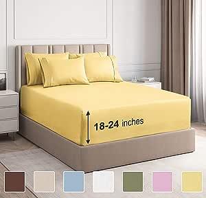 CGK Unlimited 超深口袋床单 - 7 件床单套装 - 分离式大号双人床床单 深口袋 - 超深床单 - 53.34 厘米深口袋 黄色 Queen