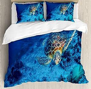 Ambesonne 香蕉叶羽绒被套装,由手工绘制风格植物性图案热带折叠绿色和蓝色,装饰床上用品套装带枕套,翡翠绿 蓝色