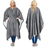 Catalonia 可穿戴毛毯 成人款,超柔软舒适电视抱毯睡袍,男女皆宜 灰色 Sherpa Lining