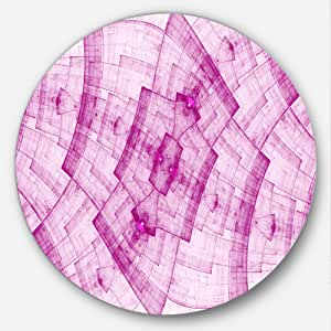 Designart 深粉色迷幻零部件金属网格抽象圆圈墙壁艺术