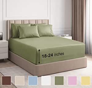 CGK Unlimited 超深口袋床单 - 7 件床单套装 - 分离式大号双人床床单 深口袋 - 超深床单 - 53.34 厘米深口袋 淡*(Sage Green) 加州King size