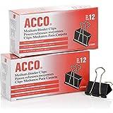 ACCO 活页夹,中号,黑色,2 盒,12 个/盒 (A7072062)