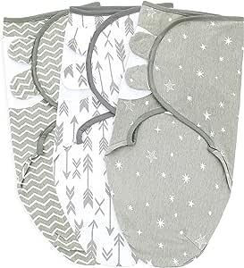 Baby Swaddle Wrap Sack 适合新生儿男孩和女孩 | 0-3 个月| 3 件套可调节婴儿襁褓毯,带紧固带| 透气软棉 灰色/白色 小号/中号
