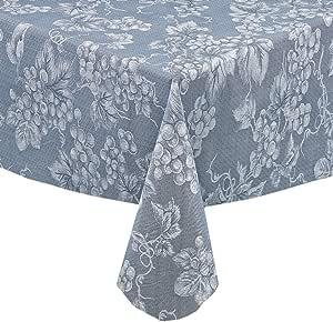 "Grapevines 现代葡萄印花厚 4 号乙烯基法兰绒背桌布,室内/室外擦拭清洁桌布 蓝色 52"" x 52"" Square unknown"