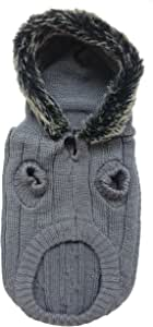 时尚宠物灰色户外狗人造毛连帽毛衣 灰色 X-S