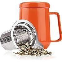 Tealyra - Peak 陶瓷茶杯注入器 - 19 盎司,580ml - 大号茶杯高温陶瓷杯带盖不锈钢注入器,茶杯适…