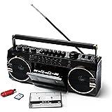 Ricatech schein Ghettoblaster PR1980 2 x 8瓦内置X低音扬声器 USB + SD接口 AM/FM 收音机 3.5 毫米耳机输出接口带录音功能的内置麦克风(录制)