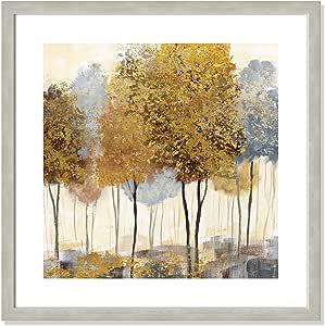 Casa Fine Arts 金属森林 II 银色和金色现代梦幻景墙艺术档案印刷品,57.15 厘米 x 57.15 厘米,暖边框