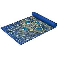 Gaiam 瑜伽垫高级印花超厚防滑锻炼和健身垫,适用于各种类型的瑜伽、普拉提和地板锻炼,蓝宝石羽毛,6 毫米