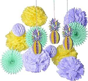 PAPER JAZZ 多色纸菠萝蜂窝球桌*摆饰装饰夏威夷 laua Tiki 海滩热带水果派对 生日 婴儿淋浴节日 紫色套装 unknown