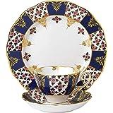 Royal Albert 100 Years 40017566 1900 骨瓷茶杯,茶碟,盘子3件套,摄政蓝,20厘米