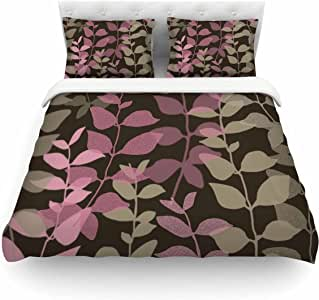 Kess InHouse Carolyn Greifeld Fantasy 2 英寸粉色棕色单人棉质被套,172.72 x 223.52 厘米