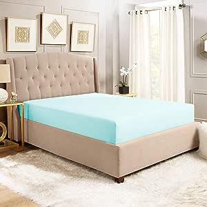 Empyrean 床品 - 110 GSM 厚软超细纤维面料适合标准床垫高度的床垫 - 多种尺寸和颜色 浅蓝色 Queen