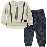 Calvin Klein 男婴 2 件套裤子套装 - 假门襟 3 件套  Oatmeal/Peacoat 3 - 6 Months