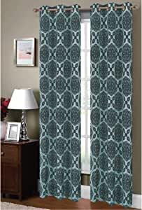 Window Elements Diamante Flocked Faux Silk 76 x 84 in. Grommet Curtain Panel Pair, Aqua/Chocolate