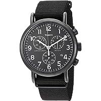 Timex 天美时 TWG012800QM中性Weekender Chrono棕褐色皮革表带手表礼品套装+深蓝色尼龙表带