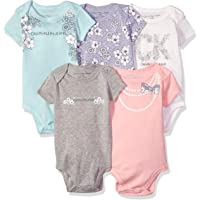 Calvin Klein 女婴连体服5件  Pink/Gray/Vanilla 3 - 6 Months