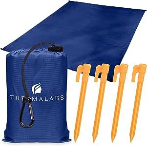无沙沙滩垫,公园地毯,折叠口袋尺寸:随身携带防沙防水降落伞适合演奏会、野餐和节日超轻防水布,深蓝色