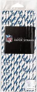 Creative Converting 24 只装底特律雄狮队 NFL 纸吸管,蓝色/白色