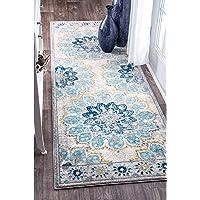 """nuLOOM Kiyoko 复古花卉区域地毯,2' 6"""" x 6',蓝色"""