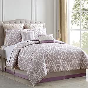 Amrapur Overseas Azlin 8 件套花缎超细纤维盖被套装 Lavender/Ivory King 38EEJCMG-AZL-KG
