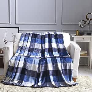 All American Collection 超柔软超舒适毛绒超细纤维纯色毛毯,适用于沙发、家居、卧室、客厅 Beverly Blue-black 50 x 60