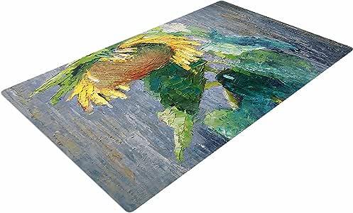 "KESS InHouse CS1020ADR02 Carol Schiff""Lonely Sunflower"" 黄色自然编织小地毯,4 英尺 X 6 英尺,"