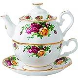 Royal Albert 老式乡村玫瑰装茶壶,16.5 盎司,多色