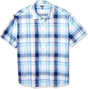 Van Heusen 男式 Big and Tall Air Seersucker 短袖系扣涤纶人造丝格子衬衫